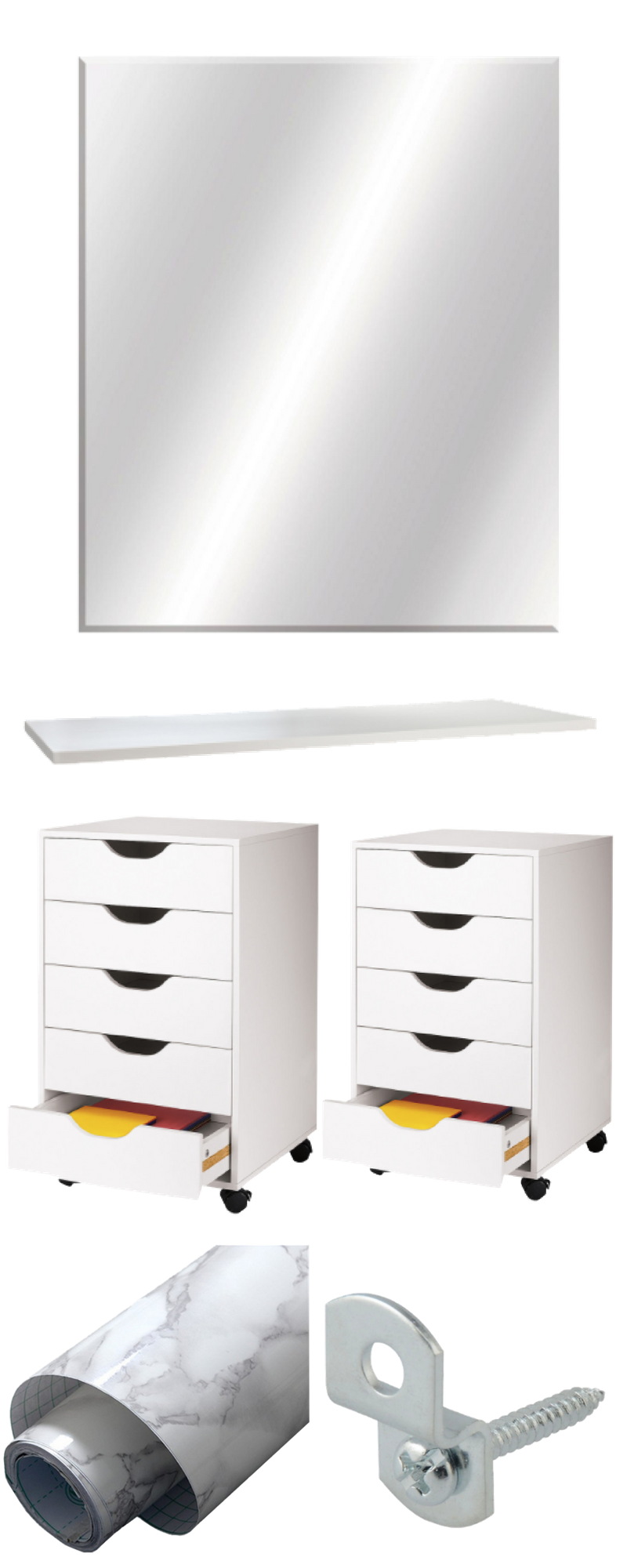 Home Decor Dupes DIY -- Makeup Vanity Idea -- Ikea Makeup Vanity Dupe -- What You Need Series 1 | Makevanityideas.com