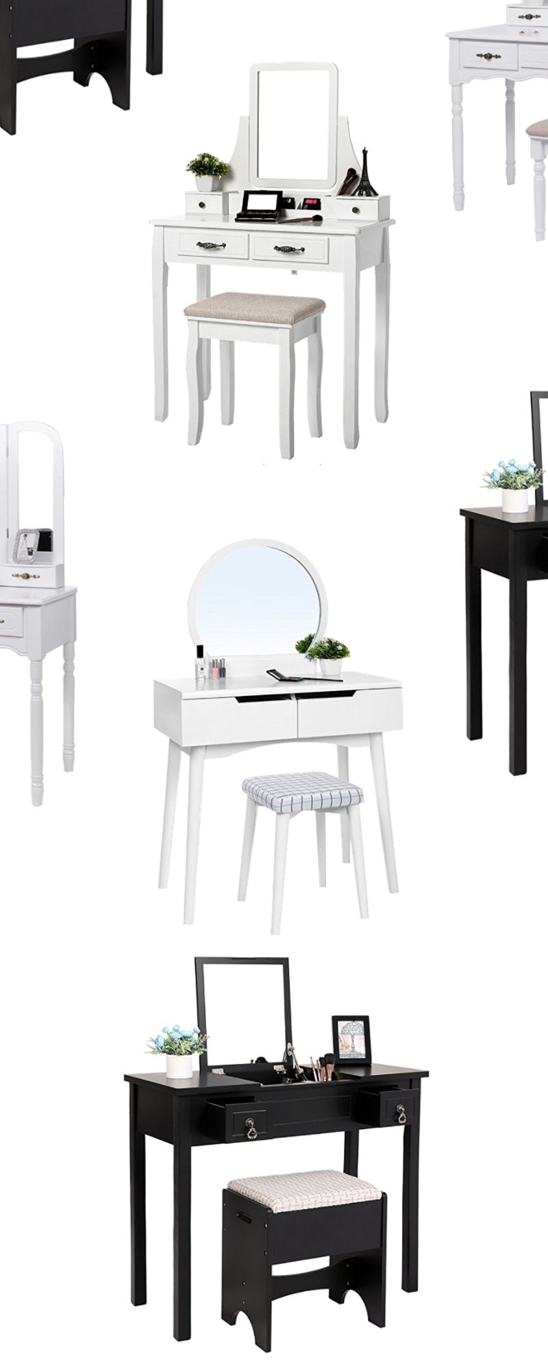 Home Decor Dupes DIY -- Makeup Vanity Idea -- Makeup Vanity Sets With Mirror and Stool | Black Makeup Vanity Set | Makeupvanityideas.com
