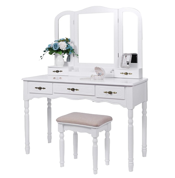 Vanity Set With Large Tri Folding Mirror Cushioned Stool Desk Makeup Table 5 Drawers 2 Dividers Organizer White By Bewishome